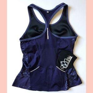 Running Purple Gray Sports Bra Tank Back Pockets